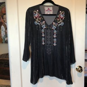 Johnny Was like new velvet embroidered tunic